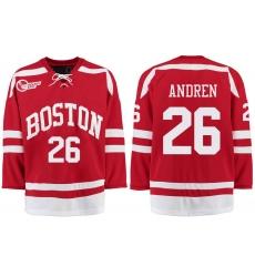 Boston University Terriers BU 26 Oskar Andren Red Stitched Hockey Jersey