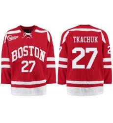 Boston University Terriers BU 27 Brady Tkachuk Red Stitched Hockey Jersey