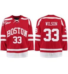 Boston University Terriers BU 33 Colin Wilson Red Stitched Hockey Jersey