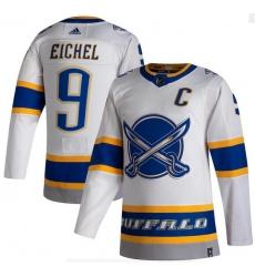 Men Buffalo Sabres 9 Jack Eichel White 2020 21 Reverse Retro Adidas Jersey