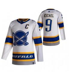 Men Buffalo Sabres 9 Jack Eichel White Adidas 2020 21 Reverse Retro Alternate NHL Jersey