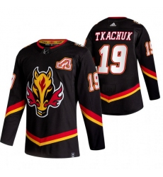 Men Calgary Flames 19 Matthew Tkachuk Black Adidas 2020 21 Reverse Retro Alternate NHL Jersey