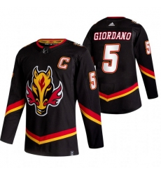 Men Calgary Flames 5 Mark Giordano Black Adidas 2020 21 Reverse Retro Alternate NHL Jersey