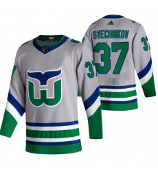 Men Carolina Hurricanes 37 Andrei Svechnikov Grey Adidas 2020 21 Reverse Retro Alternate NHL Jersey