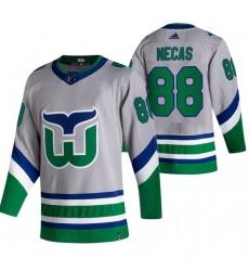Men Carolina Hurricanes 88 Martin Necas Grey Adidas 2020 21 Reverse Retro Alternate NHL Jersey