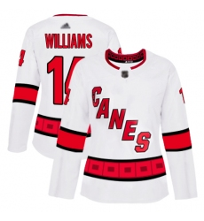 Women Hurricanes 14 Justin Williams White Road Authentic Stitched Hockey Jersey