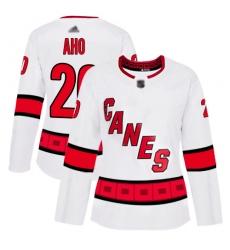 Women Hurricanes 20 Sebastian Aho White Road Authentic Stitched Hockey Jersey