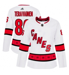 Women Hurricanes 86 Teuvo Teravainen White Road Authentic Stitched Hockey Jersey