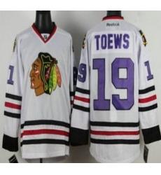 Chicago Blackhawks 19 Jonathan Toews White NHL Jerseys Purple Number