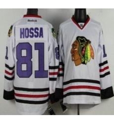 Chicago Blackhawks 81 Marian Hossa White NHL Jerseys Purple Number