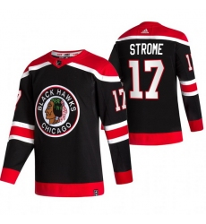Men Chicago Blackhawks 17 Dylan Strome Black Adidas 2020 21 Reverse Retro Alternate NHL Jersey