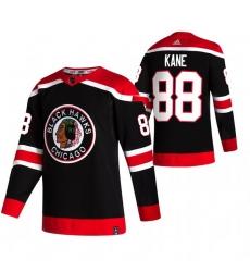 Men Chicago Blackhawks 88 Patrick Kane Black Adidas 2020 21 Reverse Retro Alternate NHL Jersey