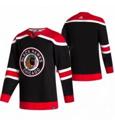 Men Chicago Blackhawks Blank Black Adidas 2020 21 Reverse Retro Alternate NHL Jersey