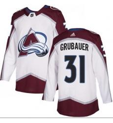 Men Colorado Avalanche 31 Philipp Grubauer White Adidas Jersey