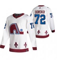 Men Colorado Avalanche 72 Joonas Donskoi White Adidas 2020 21 Reverse Retro Alternate NHL Jersey
