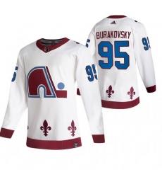 Men Colorado Avalanche 95 Andre Burakovsky White Adidas 2020 21 Reverse Retro Alternate NHL Jersey