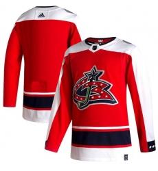 Men Columbus Blue Jackets Blank Red 2020 21 Reverse Retro Adidas Jersey