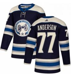 Mens Adidas Columbus Blue Jackets 77 Josh Anderson Premier Navy Blue Alternate NHL Jersey