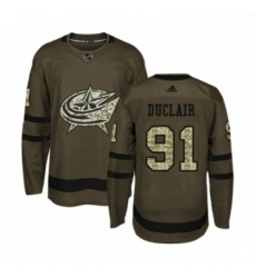 Mens Adidas Columbus Blue Jackets 91 Anthony Duclair Authentic Green Salute to Service NHL Jersey