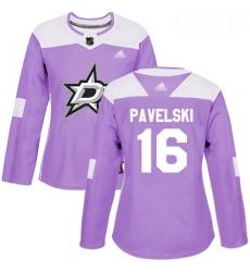 Stars #16 Joe Pavelski Purple Authentic Fights Cancer Women Stitched Hockey Jersey
