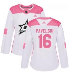 Stars #16 Joe Pavelski White Pink Authentic Fashion Women Stitched Hockey Jersey