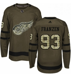 Mens Adidas Detroit Red Wings 93 Johan Franzen Authentic Green Salute to Service NHL Jersey