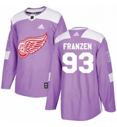 Mens Adidas Detroit Red Wings 93 Johan Franzen Authentic Purple Fights Cancer Practice NHL Jersey
