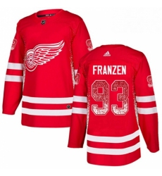 Mens Adidas Detroit Red Wings 93 Johan Franzen Authentic Red Drift Fashion NHL Jersey