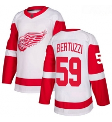 Red Wings #59 Tyler Bertuzzi White Road Authentic Stitched Hockey Jersey