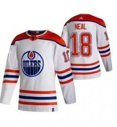 Men Edmonton Oilers 18 James Neal White Adidas 2020 21 Reverse Retro Alternate NHL Jersey