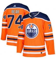 Men Edmonton Oilers 74 Ethan Bear Orange Adidas Jersey
