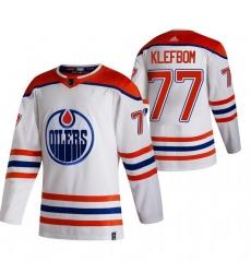 Men Edmonton Oilers 77 Oscar Klefblom White Adidas 2020 21 Reverse Retro Alternate NHL Jersey
