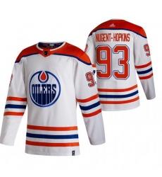 Men Edmonton Oilers 93 Ryan Nugent Hopkins White Adidas 2020 21 Reverse Retro Alternate NHL Jersey