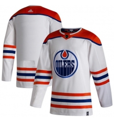Men Edmonton Oilers Blank White 2020 21 Reverse Retro Adidas Jersey