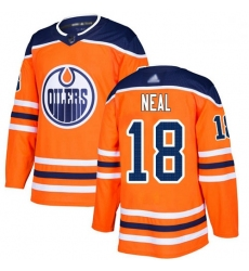 Oilers 18 James Neal Orange Home Authentic Stitched Hockey Jersey