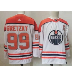 Oilers 99 Wayne Gretzky White 2020 21 Reverse Retro Adidas Jersey