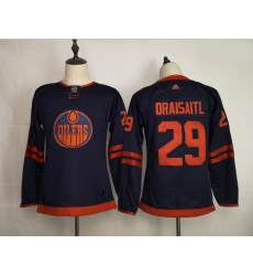 Youth Oilers 29 Leon Draisaitl Navy 50th Anniversary Adidas Jersey