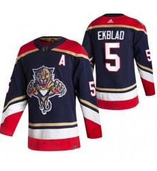 Men Florida Panthers 5 Aaron Ekblad Black Adidas 2020 21 Reverse Retro Alternate NHL Jersey