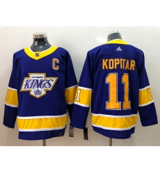 Men Los Angeles Kings 11 Anze Kopitar Purple C Patch Adidas 2020 21 Reverse Retro Alternate NHL Jersey