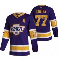 Men Los Angeles Kings 77 Jeff Carter Black Adidas 2020 21 Reverse Retro Alternate NHL Jersey