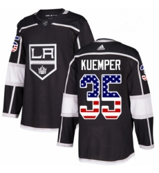 Mens Adidas Los Angeles Kings 35 Darcy Kuemper Authentic Black USA Flag Fashion NHL Jersey