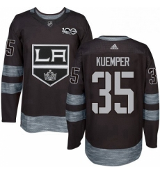 Mens Adidas Los Angeles Kings 35 Darcy Kuemper Premier Black 1917 2017 100th Anniversary NHL Jersey