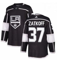 Mens Adidas Los Angeles Kings 37 Jeff Zatkoff Authentic Black Home NHL Jersey