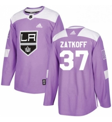 Mens Adidas Los Angeles Kings 37 Jeff Zatkoff Authentic Purple Fights Cancer Practice NHL Jersey