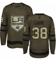 Mens Adidas Los Angeles Kings 38 Paul LaDue Authentic Green Salute to Service NHL Jersey