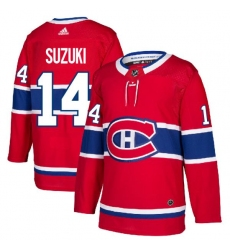 Men Montreal Canadiens 14 Nick Suzuki Red Stitched NHL Jersey