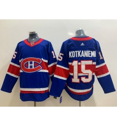 Men Montreal Canadiens 15 Jesperi Kotkaniemi Blue 2020 21 Reverse Retro Adidas Jersey