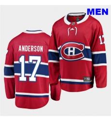 Men Montreal Canadiens 17 Josh Anderson 2020 21 Home Men Red Breakaway Player Jersey