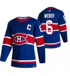 Men Montreal Canadiens 6 Shea Weber Blue Adidas 2020 21 Reverse Retro Alternate NHL Jersey