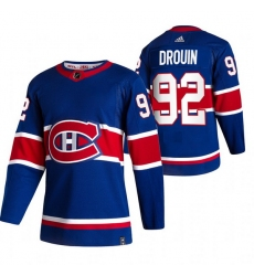 Men Montreal Canadiens 92 Jonathan Drouin Blue Adidas 2020 21 Reverse Retro Alternate NHL Jersey